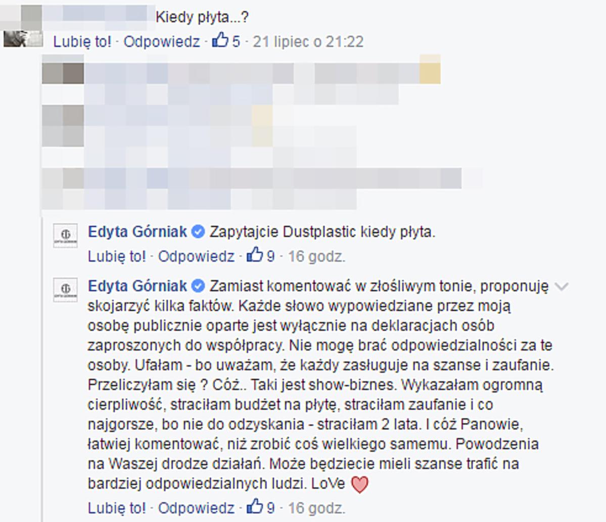Afera na Facebooku Edyty Górniak