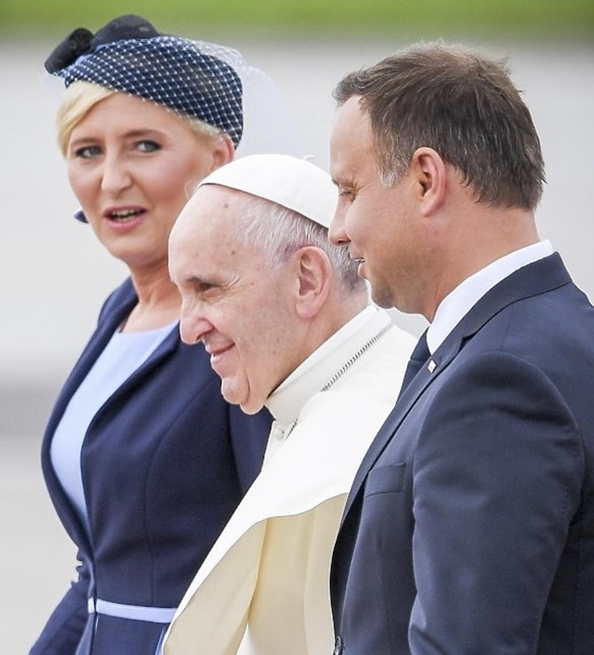 Agata Duda i Andrzej Duda na spotkaniu z papieżem