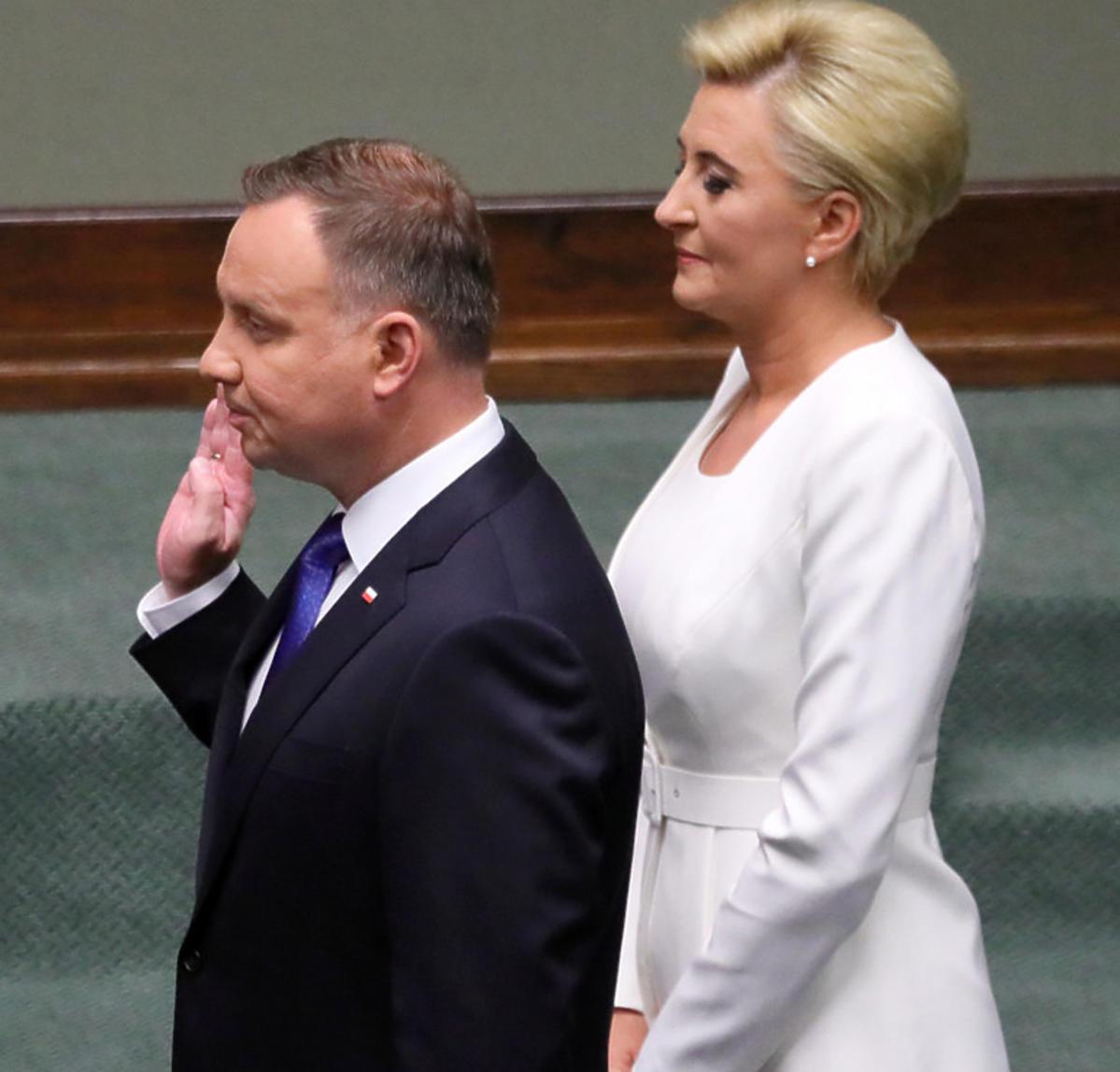 Agata Duda na zaprzysiężeniu prezydenta Dudy