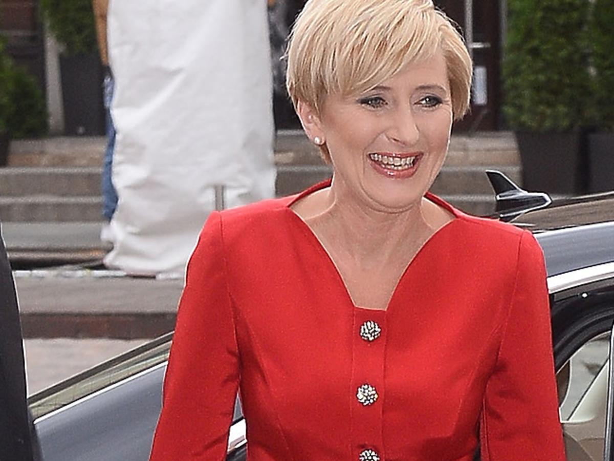 Agata Duda w czerwonej sukience