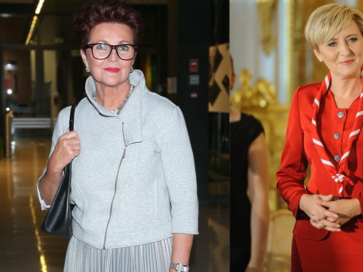 Agata Duda w czerwonym kostiumie, Jolanta Kwaśniewska w szarym żakiecie