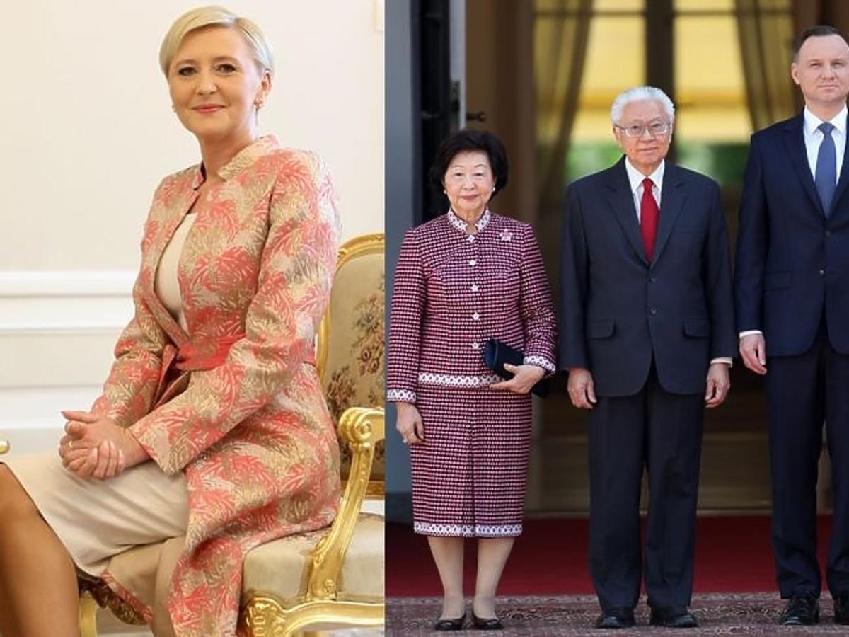 Agata Duda w kolorowej stylizacji na spotkaniu z prezydentem Singapuru