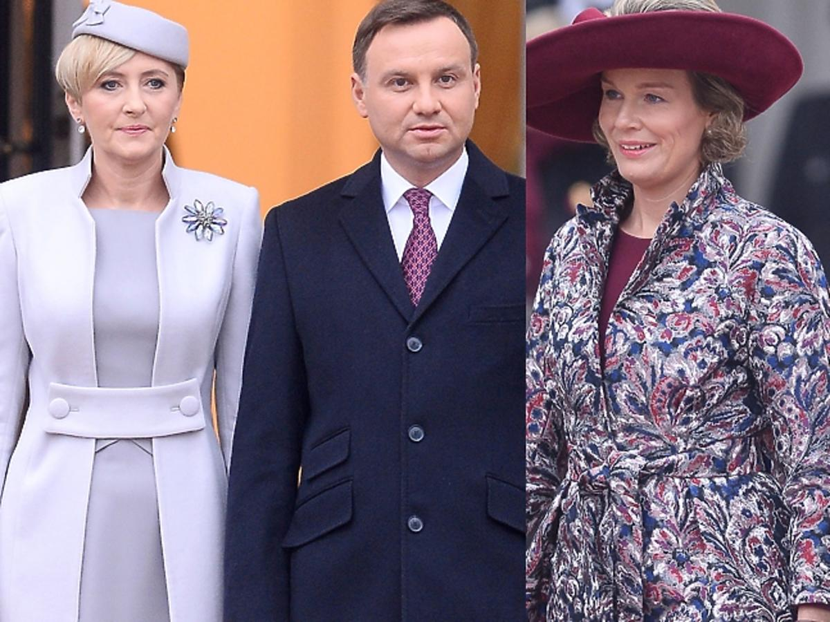 Agata i Andrzej Duda podczas powitania belgijskiej pary królewskiej