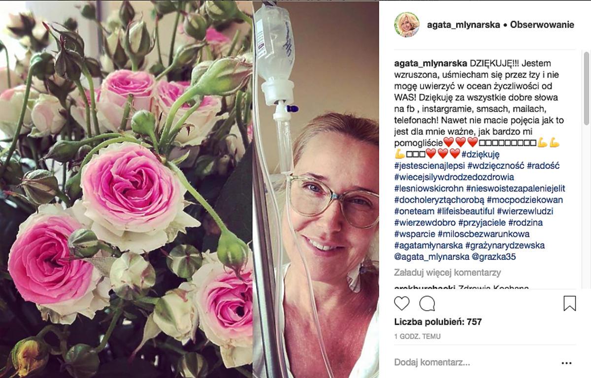 Agata Młynarska dziękuje za wsparcie ze szpitala