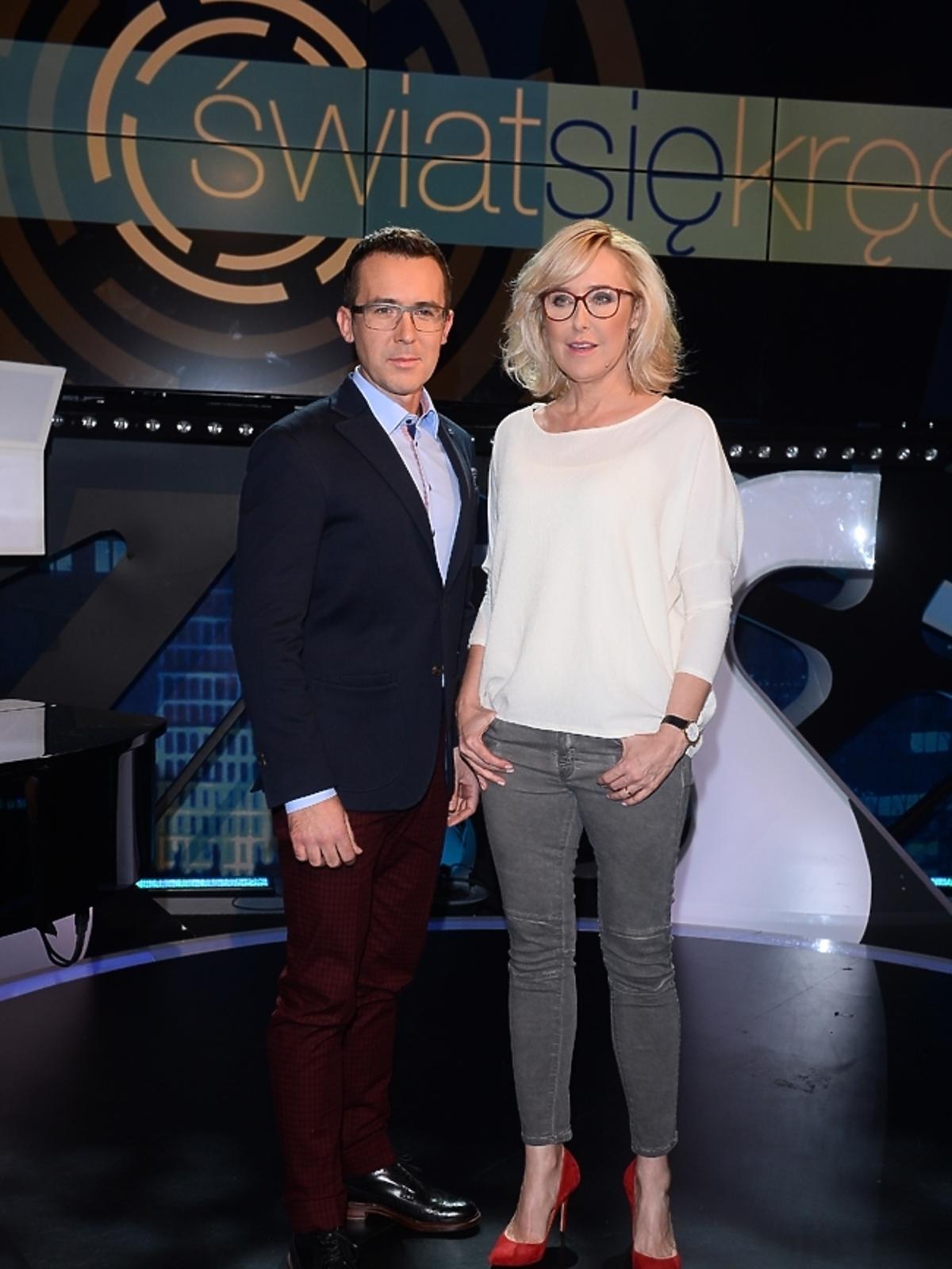 Agata Młynarska i Maciej Kurzajewski na planie Świat się kręci