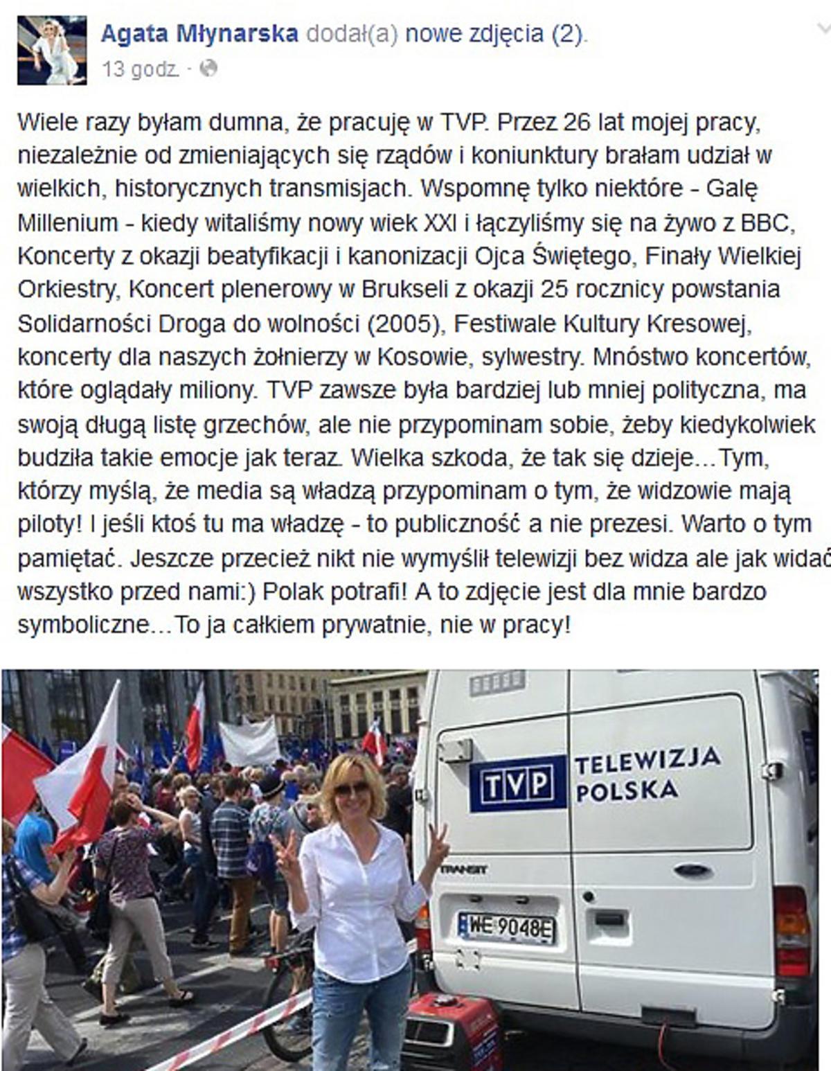 Agata Młynarska krytykuje władze TVP