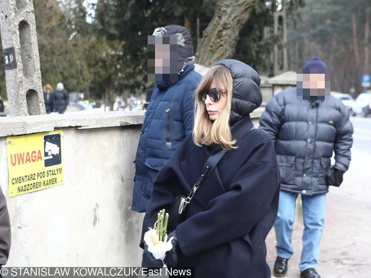 Agnieszka Dygant na pogrzebie Agnieszki Kotulanki