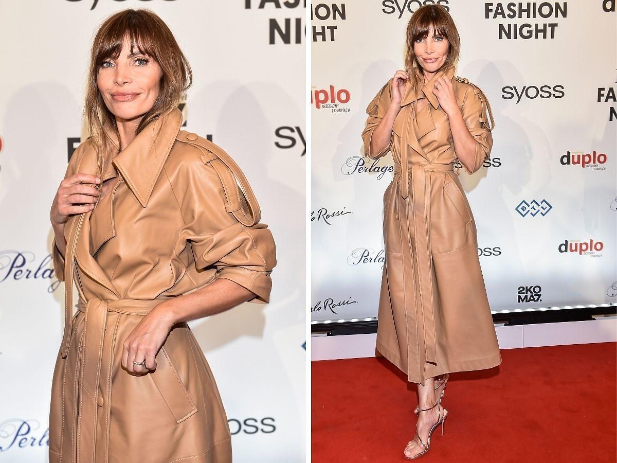 Agnieszka Dygant w skórzanym trenczu na Flesz Fashion Night 2021