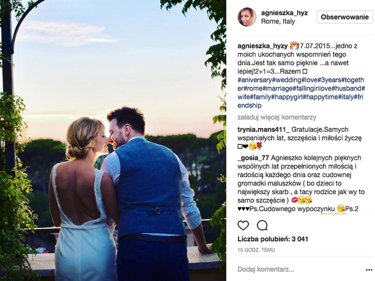 Agnieszka Hyży świętuje trzecią rocznicę ślubu z Grzegorzem