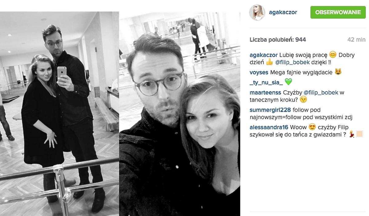 Agnieszka Kaczorowska, Filip Bobek uczą się tańca na sali treningowej