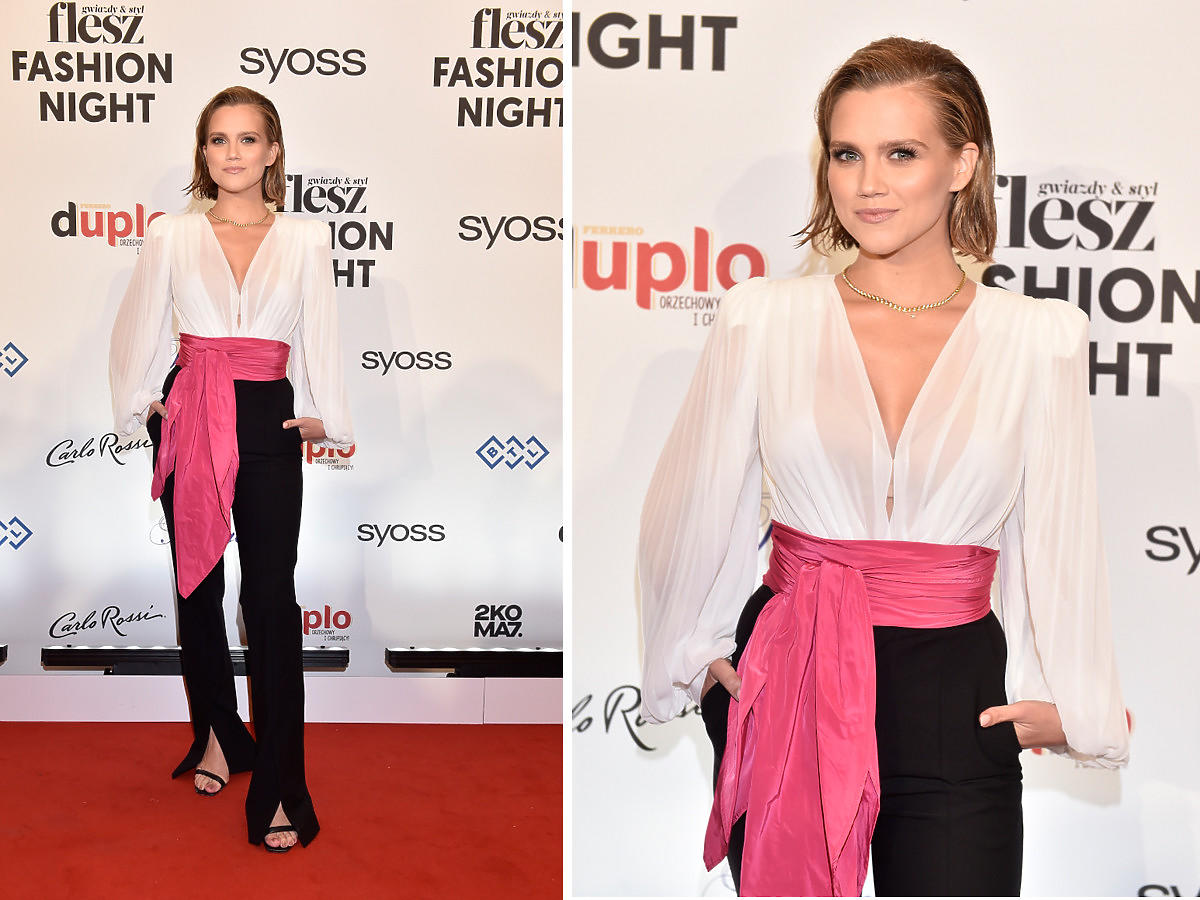 Agnieszka Kaczorowska na Flesz Fashion Night efektownie podkreśliła talię