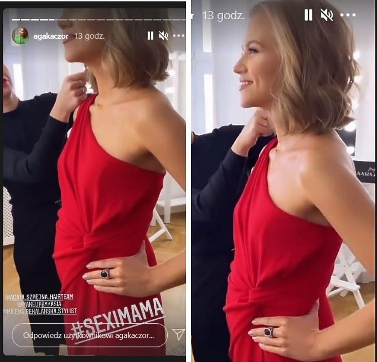 Agnieszka Kaczorowska w czerwonej sukience pokazała ciążowy brzuszek