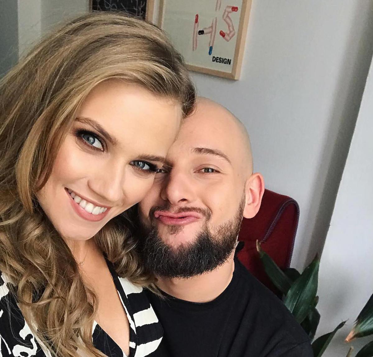 Agnieszka Kaczorowska z mężem