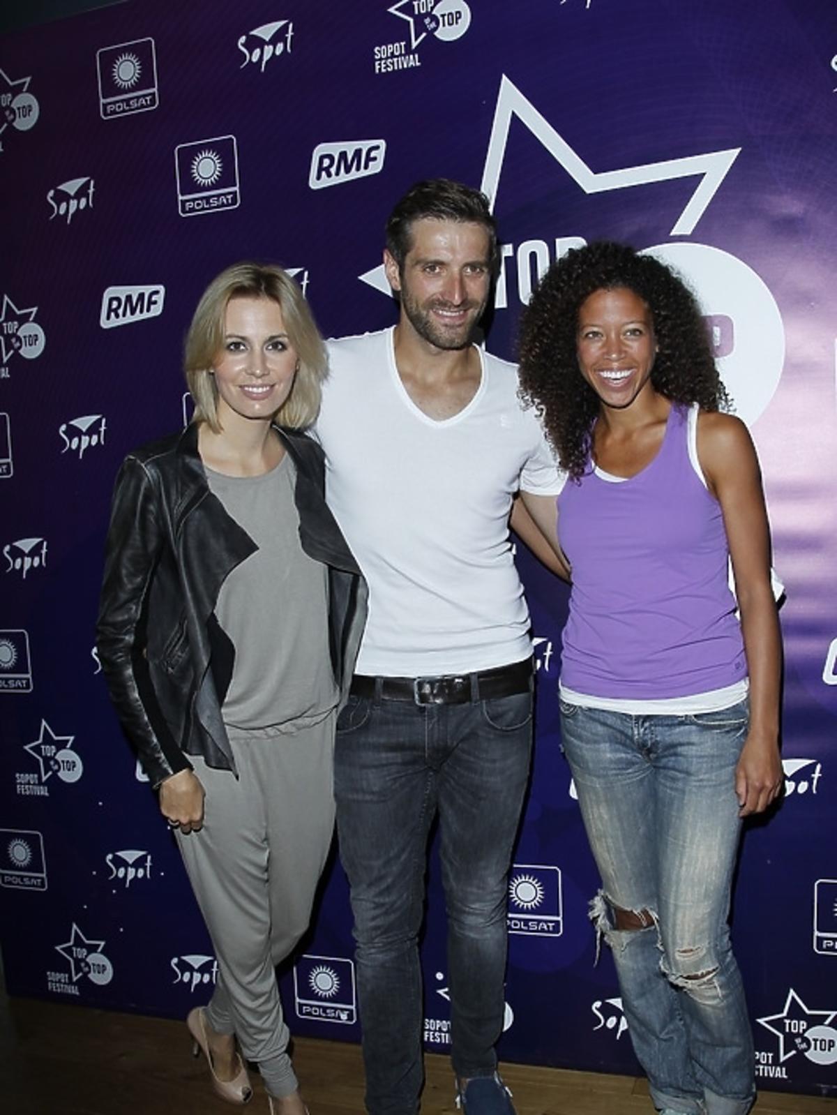 Agnieszka Popielewicz, Maciej Dowbor i Davina Reeves podczas konferencji Sopot Top of the Top Festival 2013