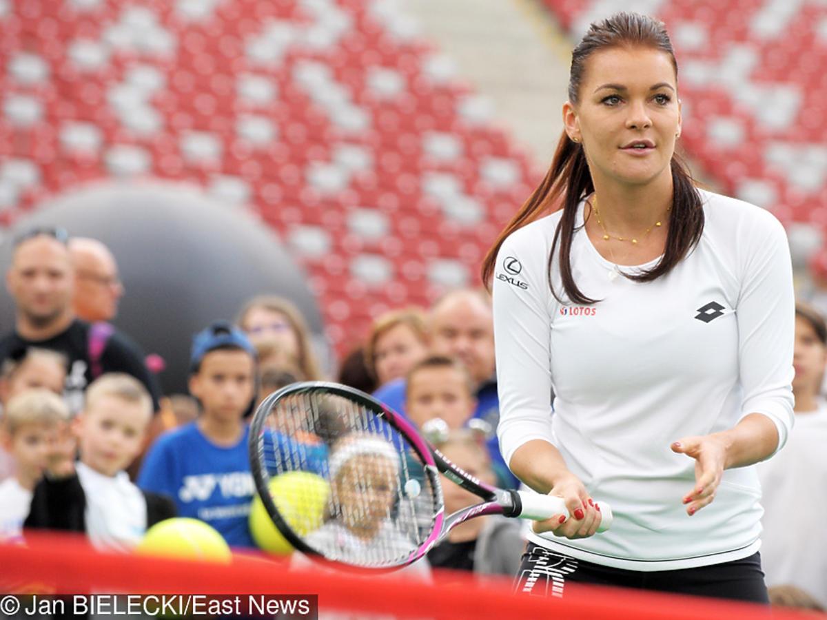 Agnieszka Radwańska na Stadionie Narodowym gra w tenisa