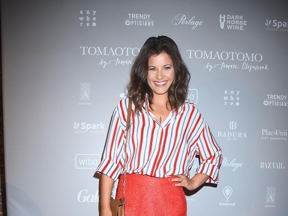 Agnieszka Sienkiewicz na pokazie marki TOMAOTOMO Tomasza Olejniczaka