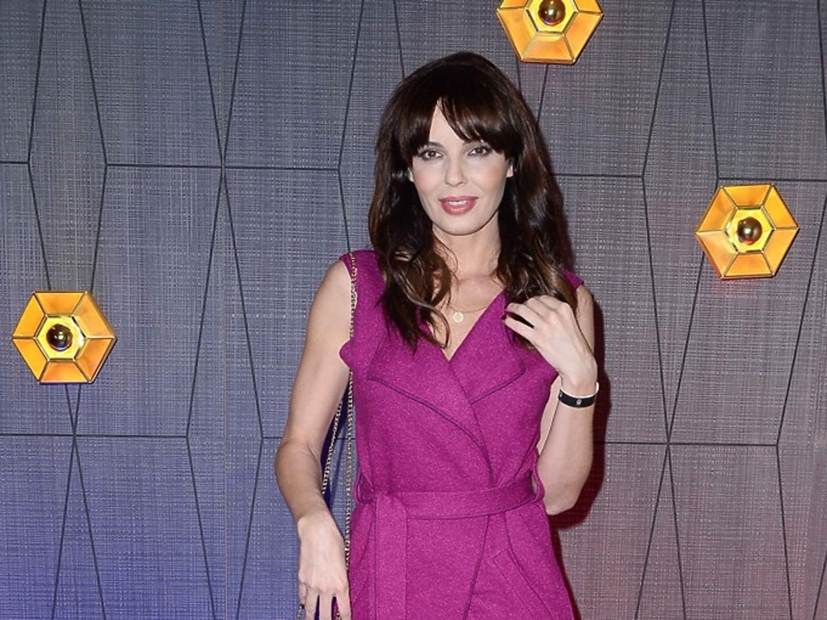 Agnieszka Włodarczyk we fioletowej sukience