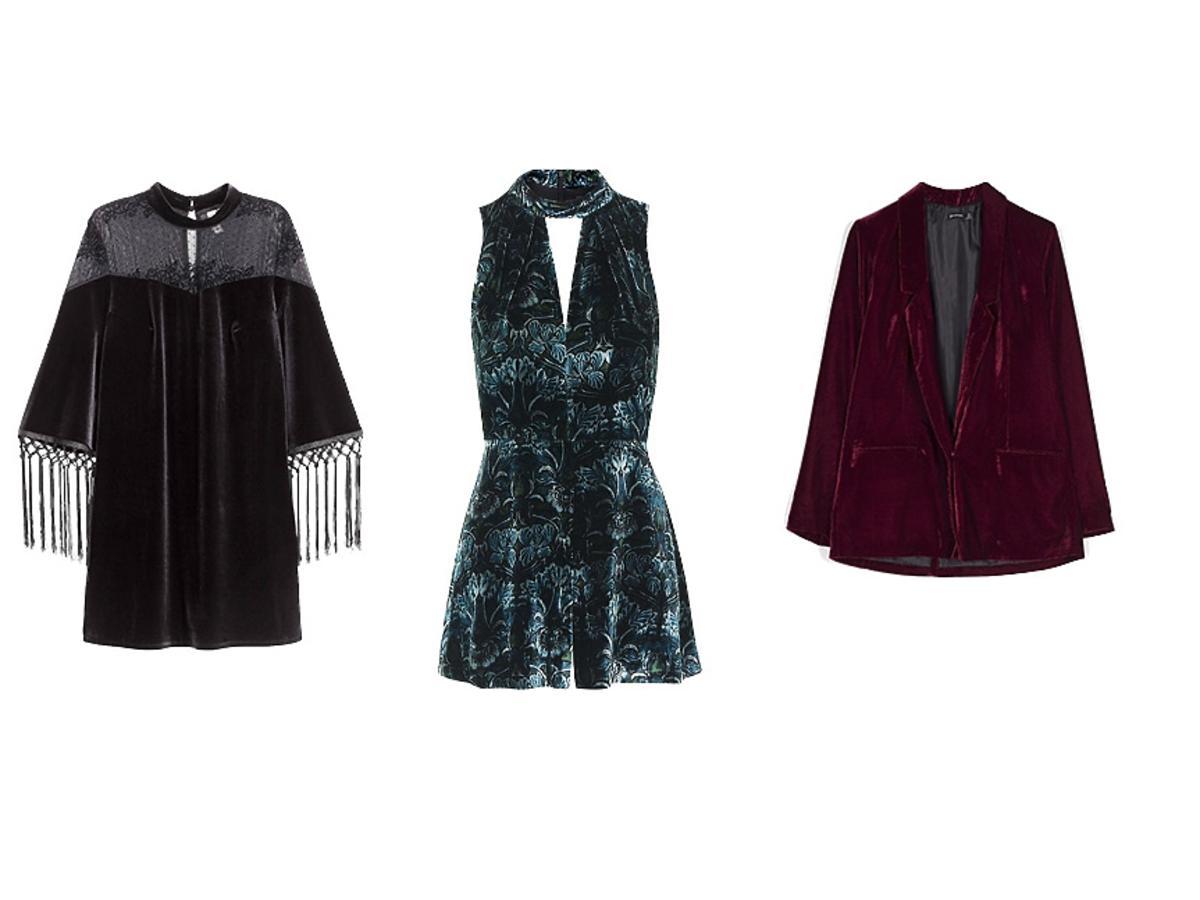 aksamitna czarna sukienka z frędzlami,aksamitny morski kombinezon,aksamitna bordowa marynarka,aksamitna sukienka czarna