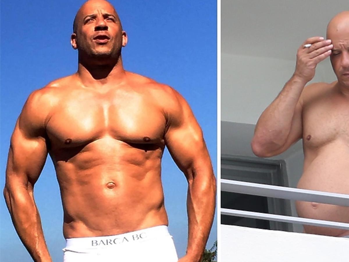 Aktor Vin Diesel wysportowany i z brzuszkiem