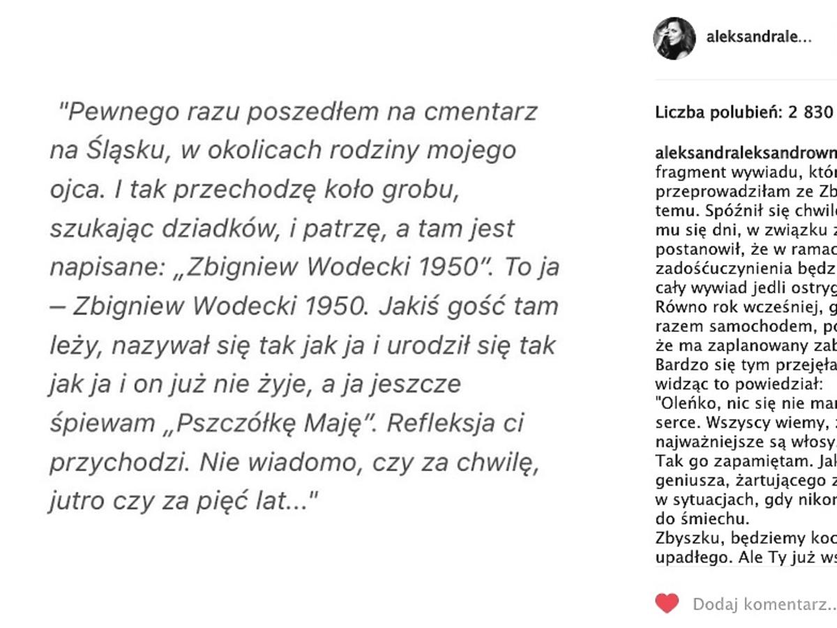 Aleksandra Kwaśniewska żegna Zbigniewa Wodeckiego