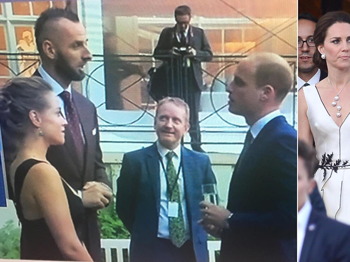 Alicja Bachleda-Curuś i Marcin Gortat podczas spotkania z księciem Williamem w Łazienkach na balu