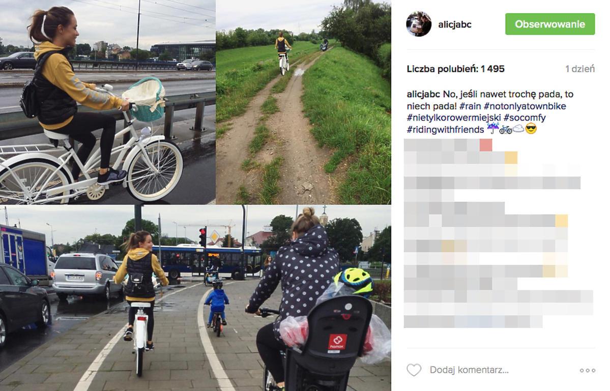 Alicja Bachleda Curuś na rowerach z synem