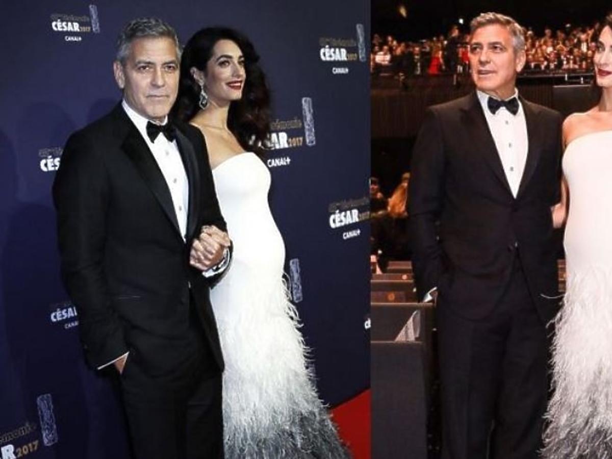 Amal Clooney w białej sukni