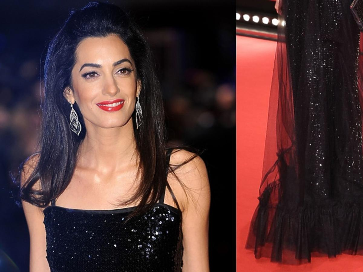 Amal Clooney  w czarnej  sukni do ziemi
