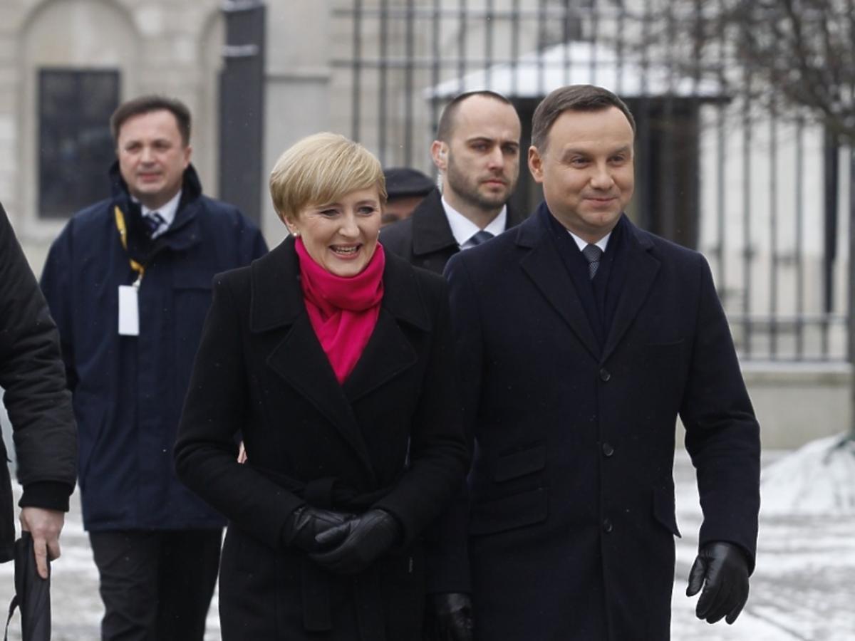 Andrzej Duda i Agata Duda na pochodzie Trzech Króli 2016