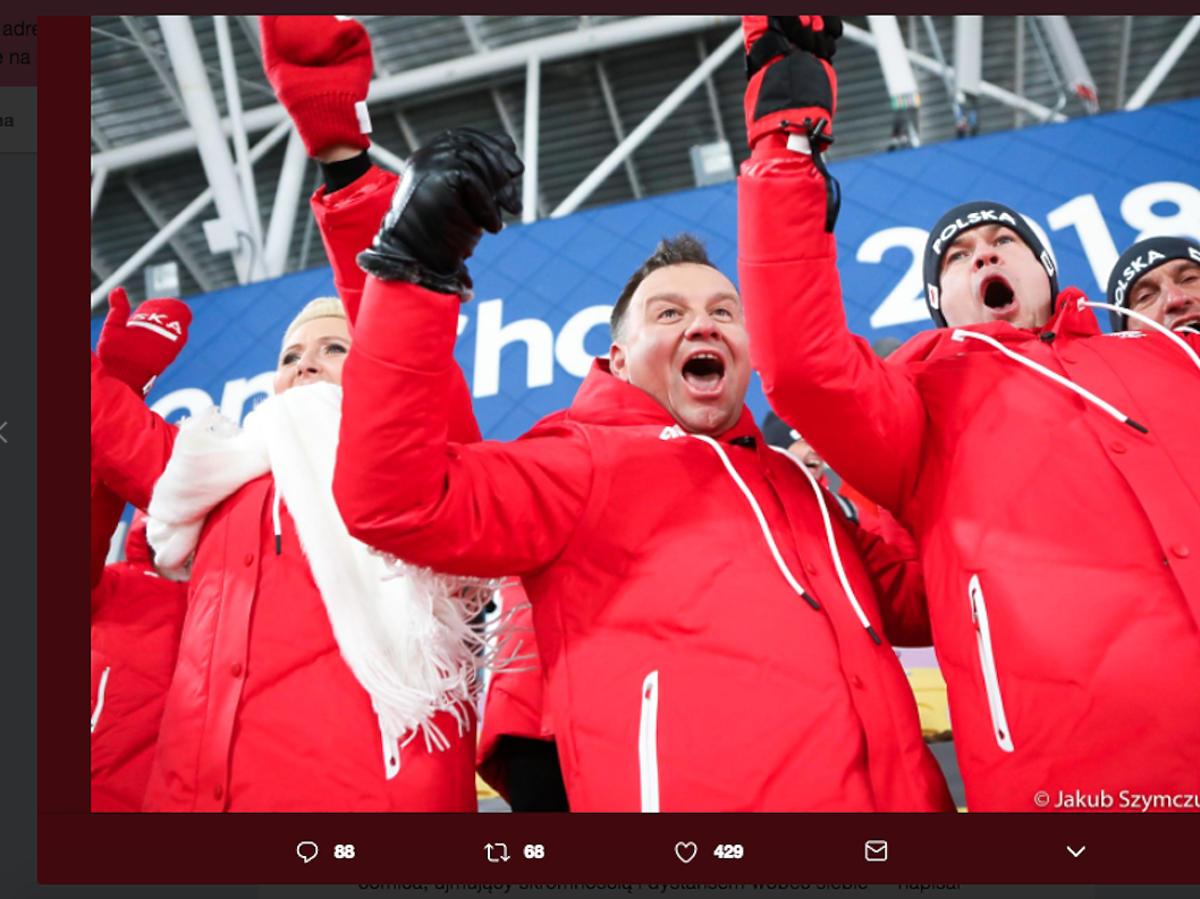Andrzej Duda i Agata Duda na Zimowych Igrzyskach Olimpijskich kibicują Polakom