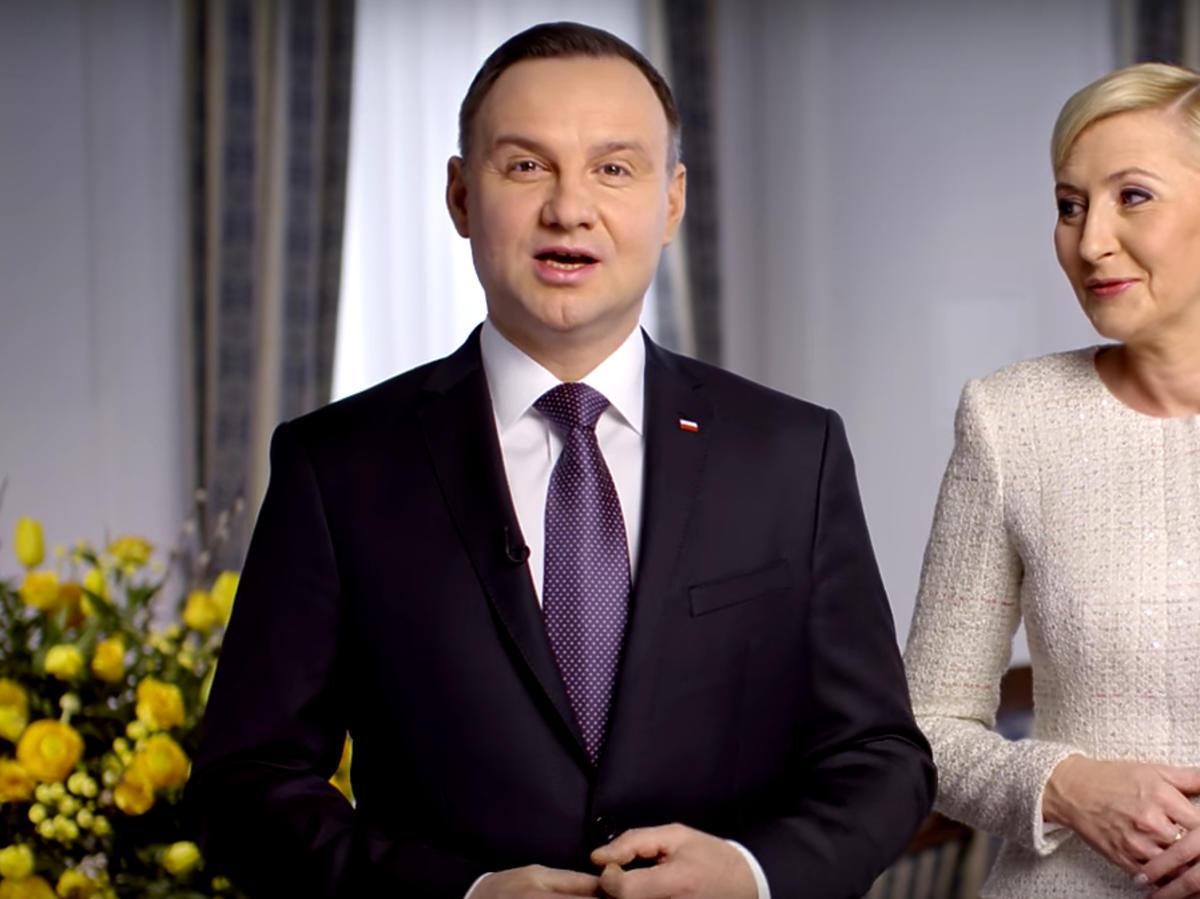Andrzej Duda i Agata Duda składają Polakom życzenia wielkanocne  wideo