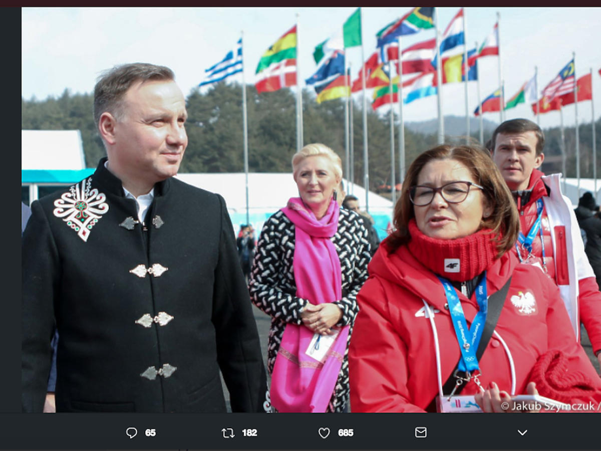 Andrzej Duda i Agata Duda w wiosce olimpijskiej w Pjongczangu