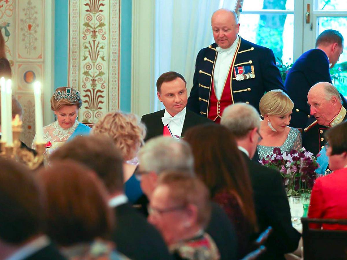 Andrzej Duda i Agata Duda w wizytą w Oslo u pary królewskiej
