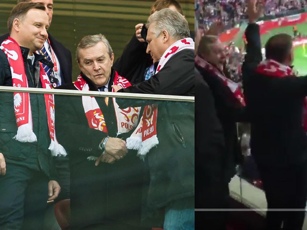 Andrzej Duda i Aleksander Kwaśniewski na meczu