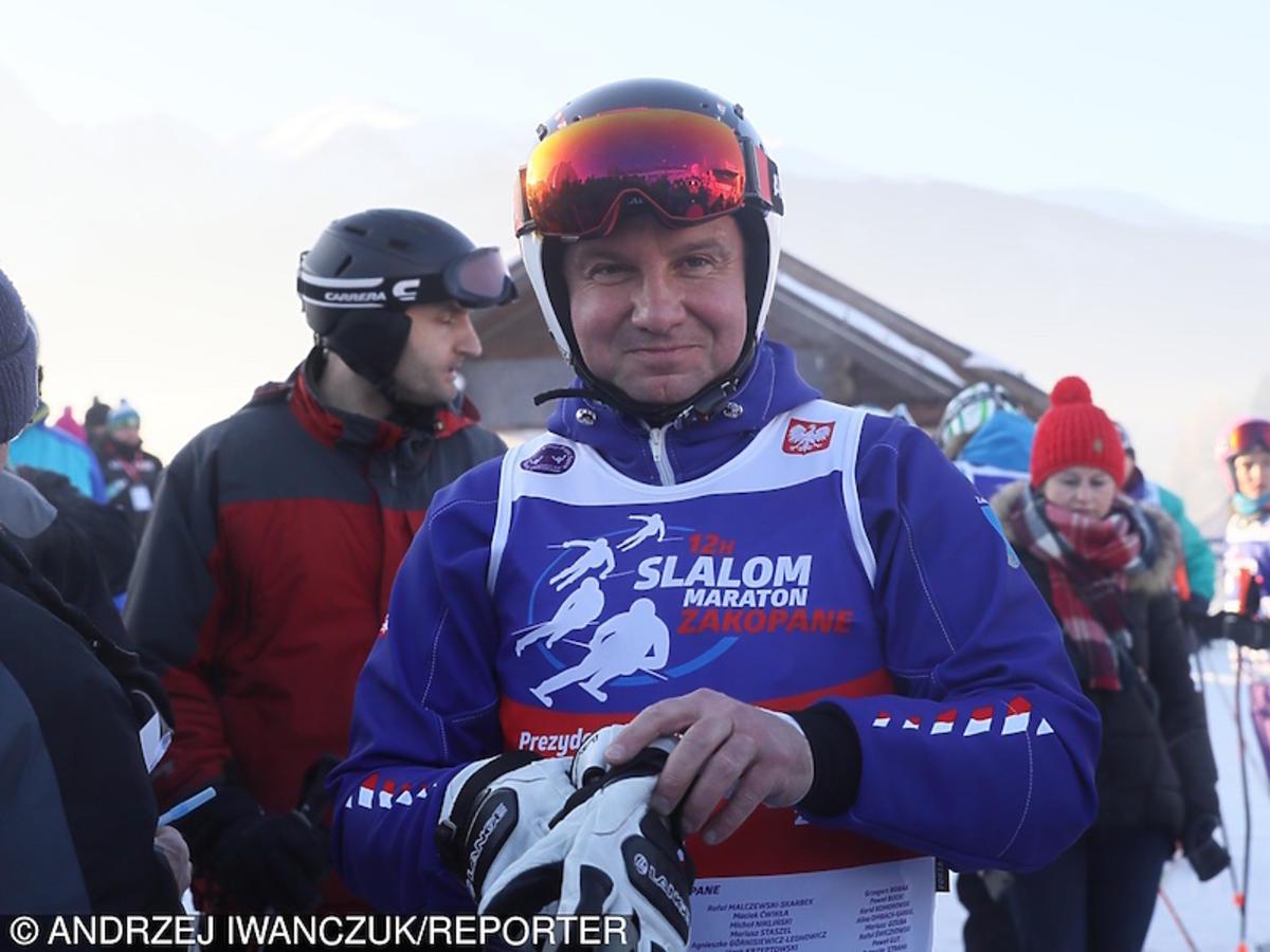 Andrzej Duda na nartach w górach