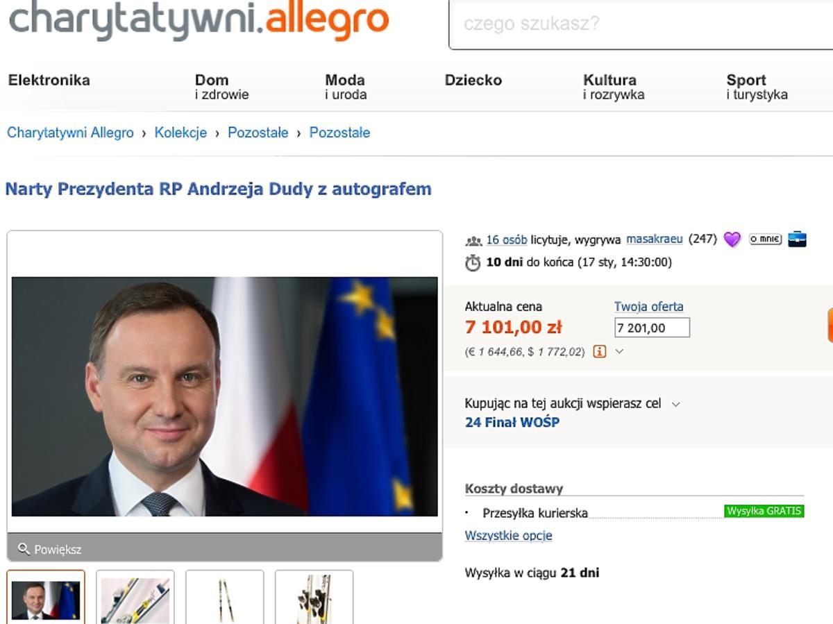 Andrzej Duda wspiera WOŚP - wystawił narty na Allegro
