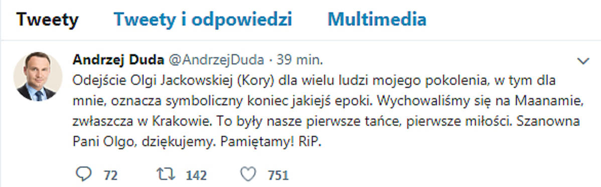 Andrzej Duda żegna Korę