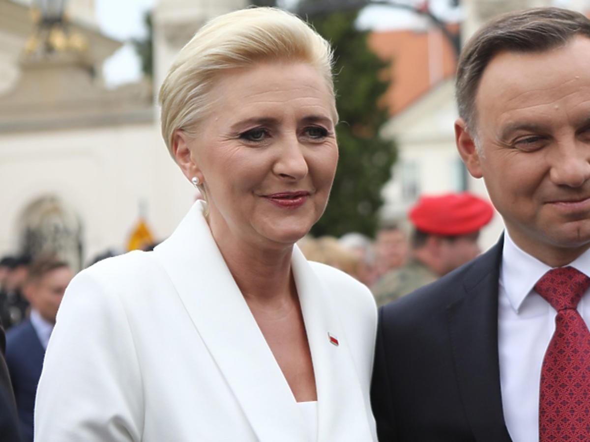 Andrzej i Agata Dudowie podczas święta flagi