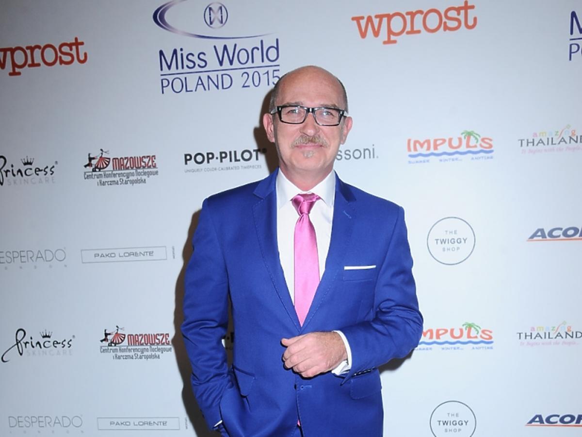 Andrzej Krzywy na gali finałowej Miss World Poland 2015