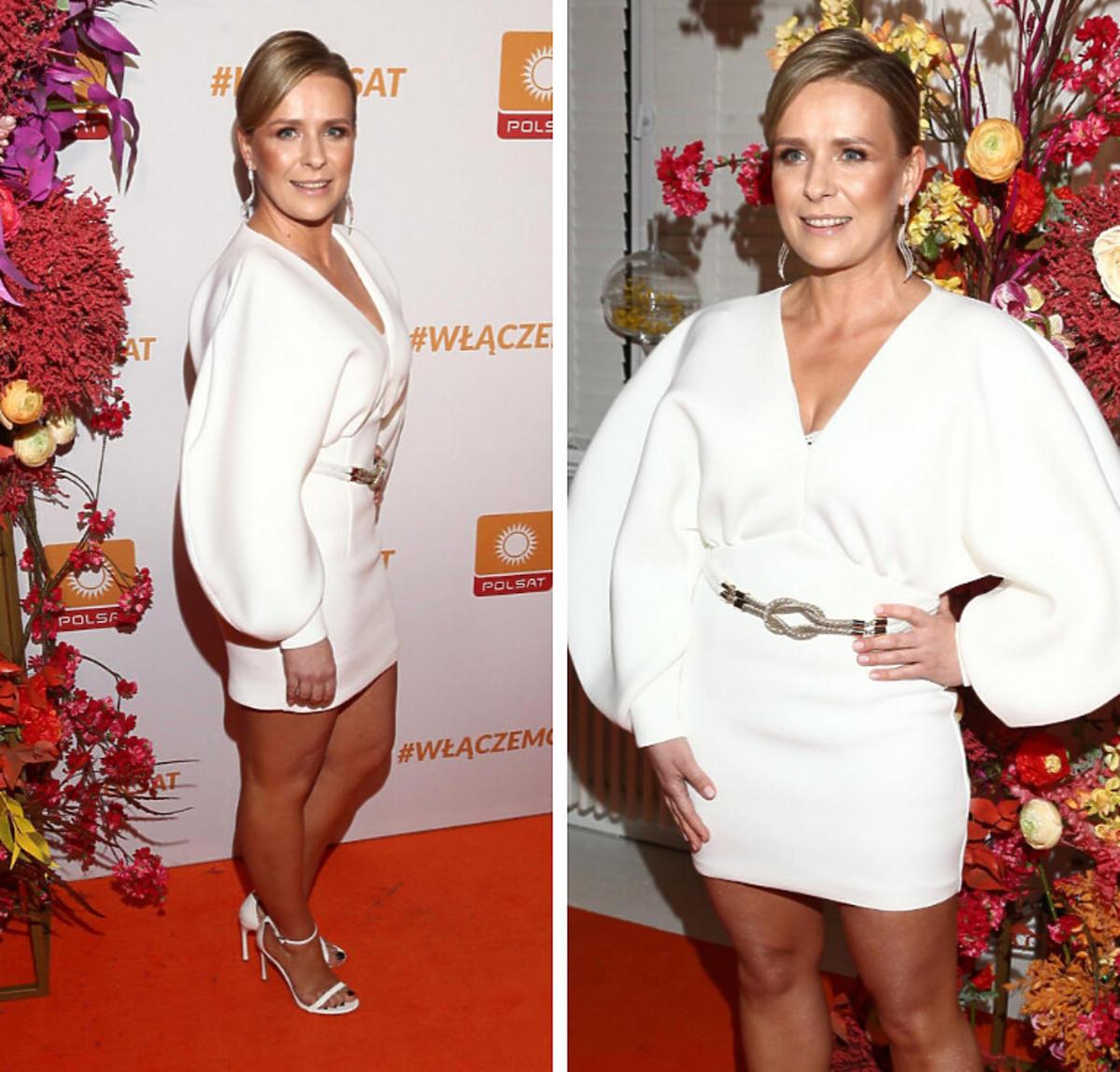 Aneta Zając w białej sukience na ramówce Polsatu