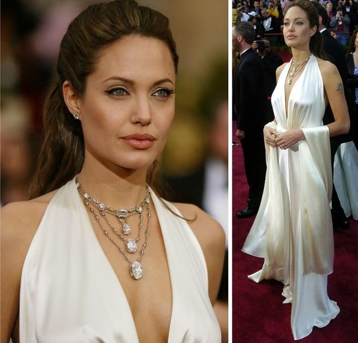 Angelina Jolie Oscary 2004 najlepsza suknia wszech czasów