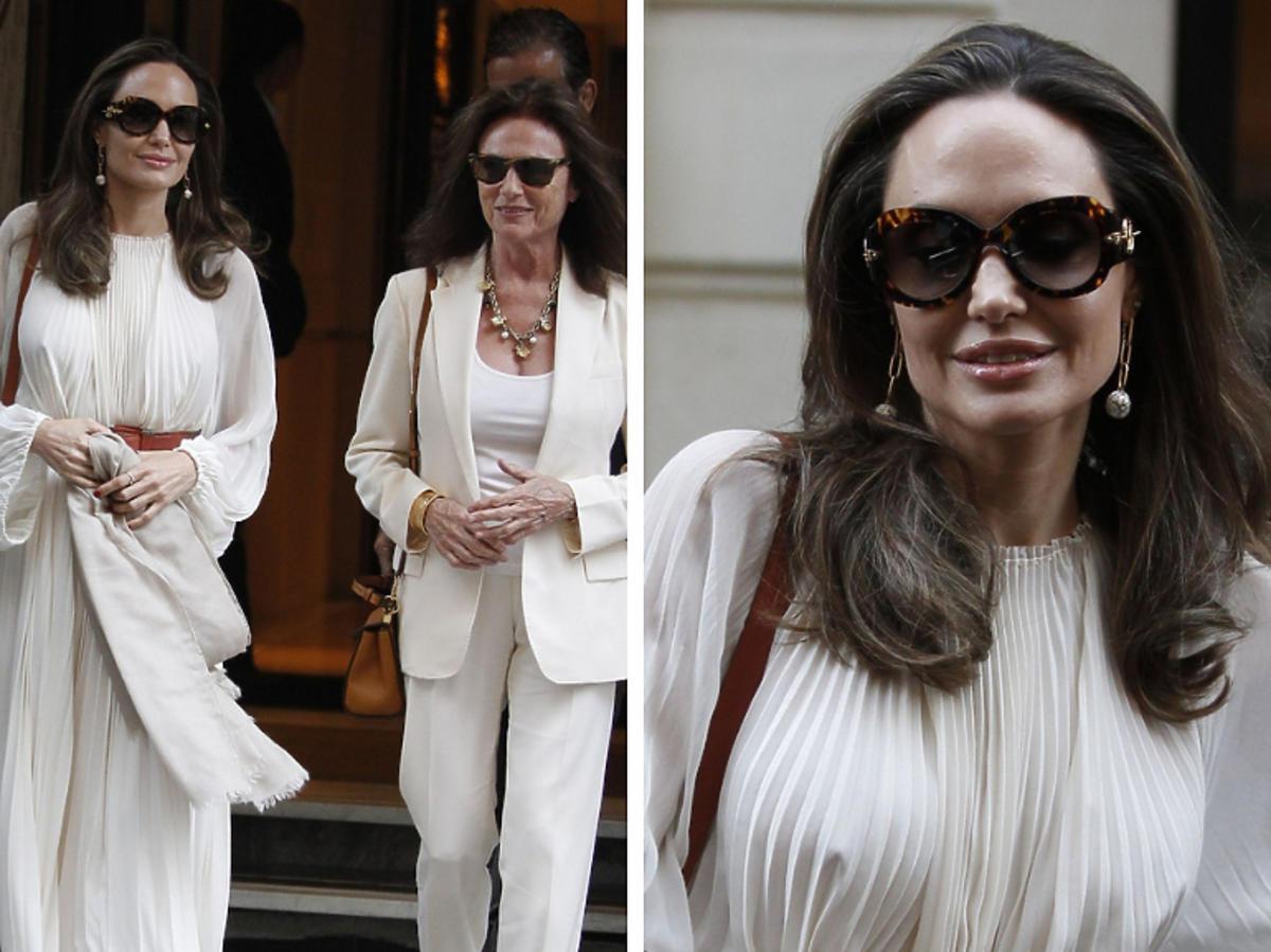 Angelina Jolie w jasnej sukience