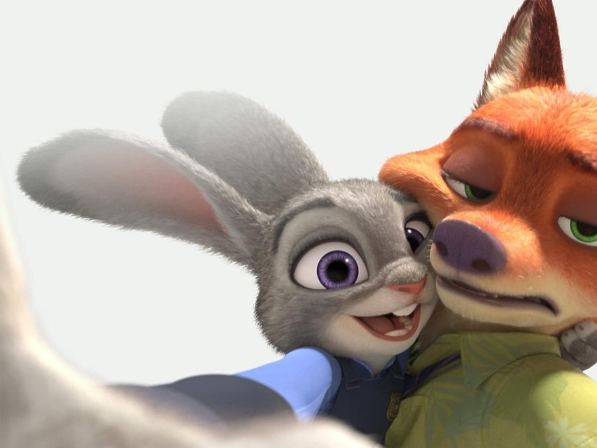 animowany królik i animowany lis