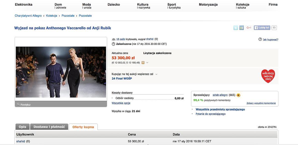 Anja Rubik dla WOŚP, aukcja