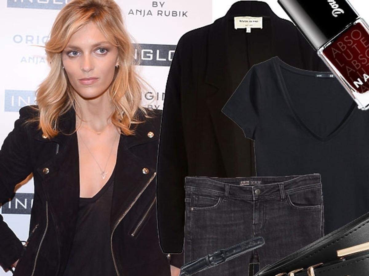 Anja Rubik w czarnych dżinsach
