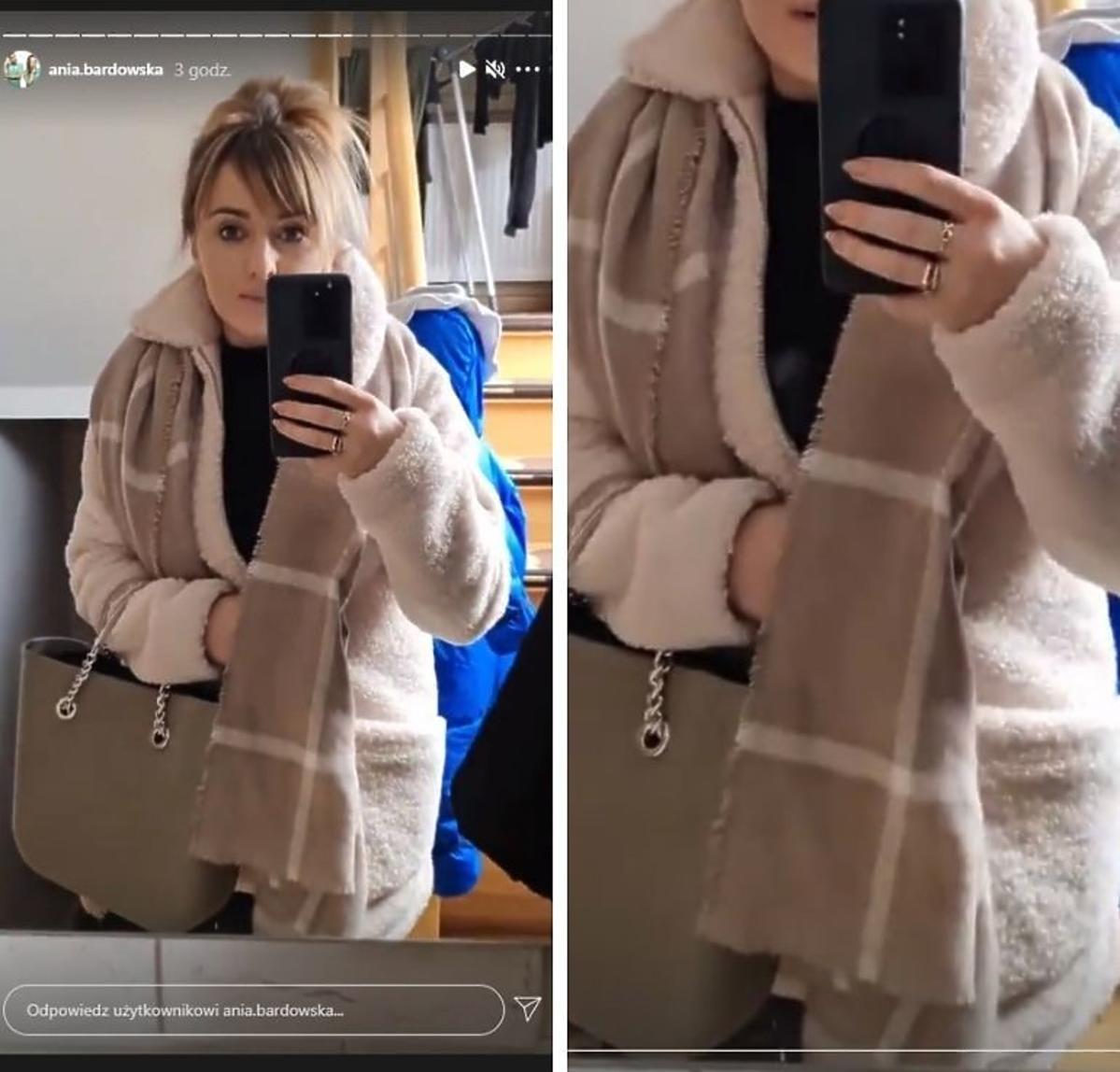 Anna Bardowska w płaszczu z futerka