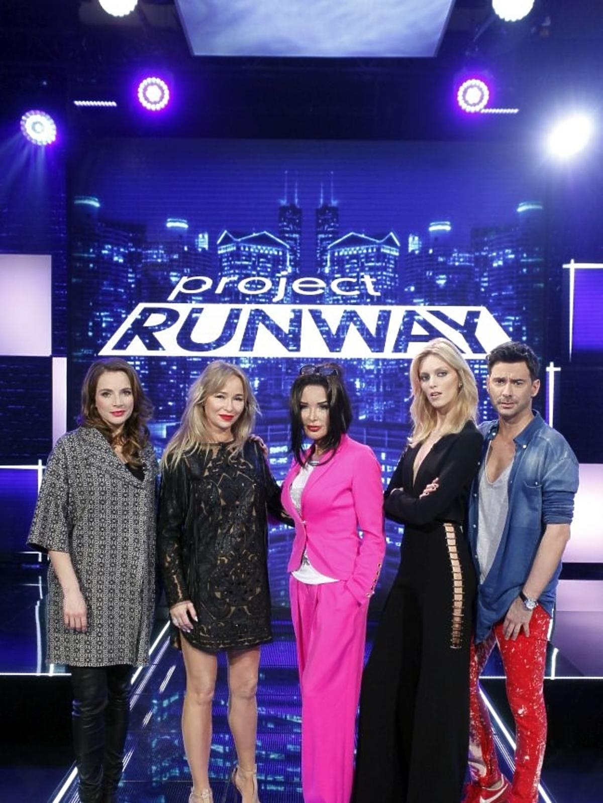 Anna Dereszowska, Ewa Minge, Joanna Przetakiewicz, Anja Rubik i Marcin Tyszka na planie Project Runway