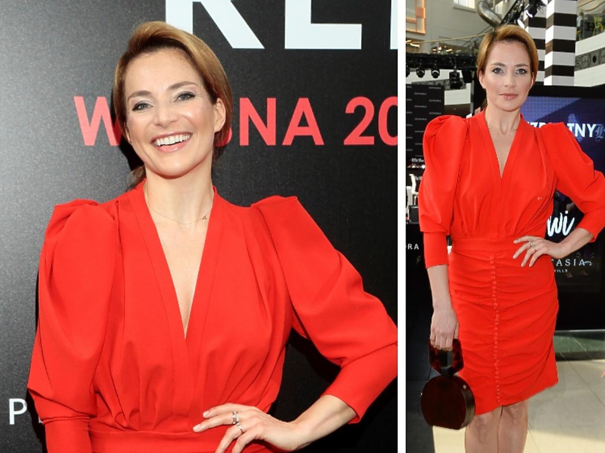 Anna Dereszowska w czerwonej retro sukience pozuje na event Sephora
