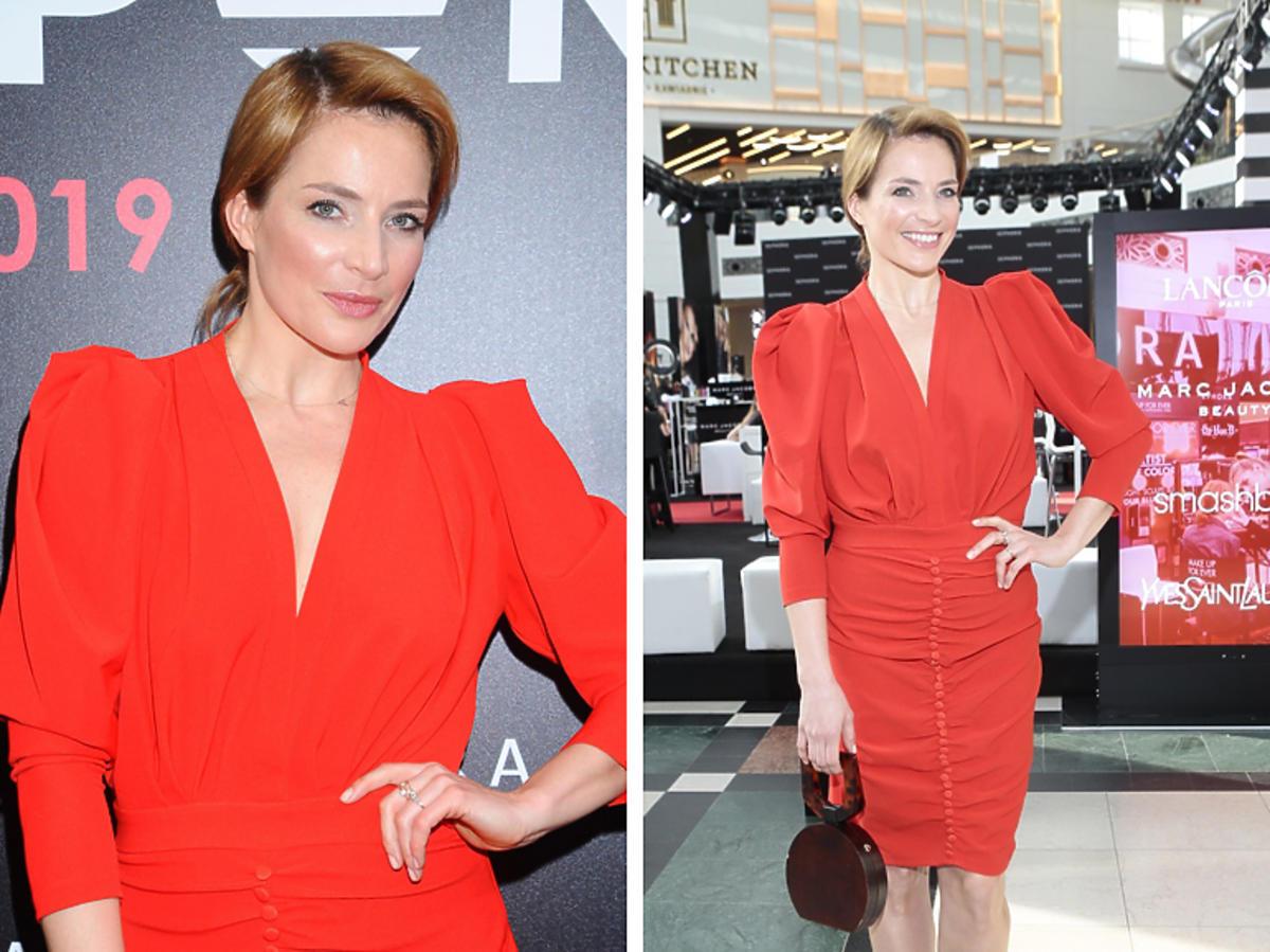 Anna Dereszowska w czerwonej sukience
