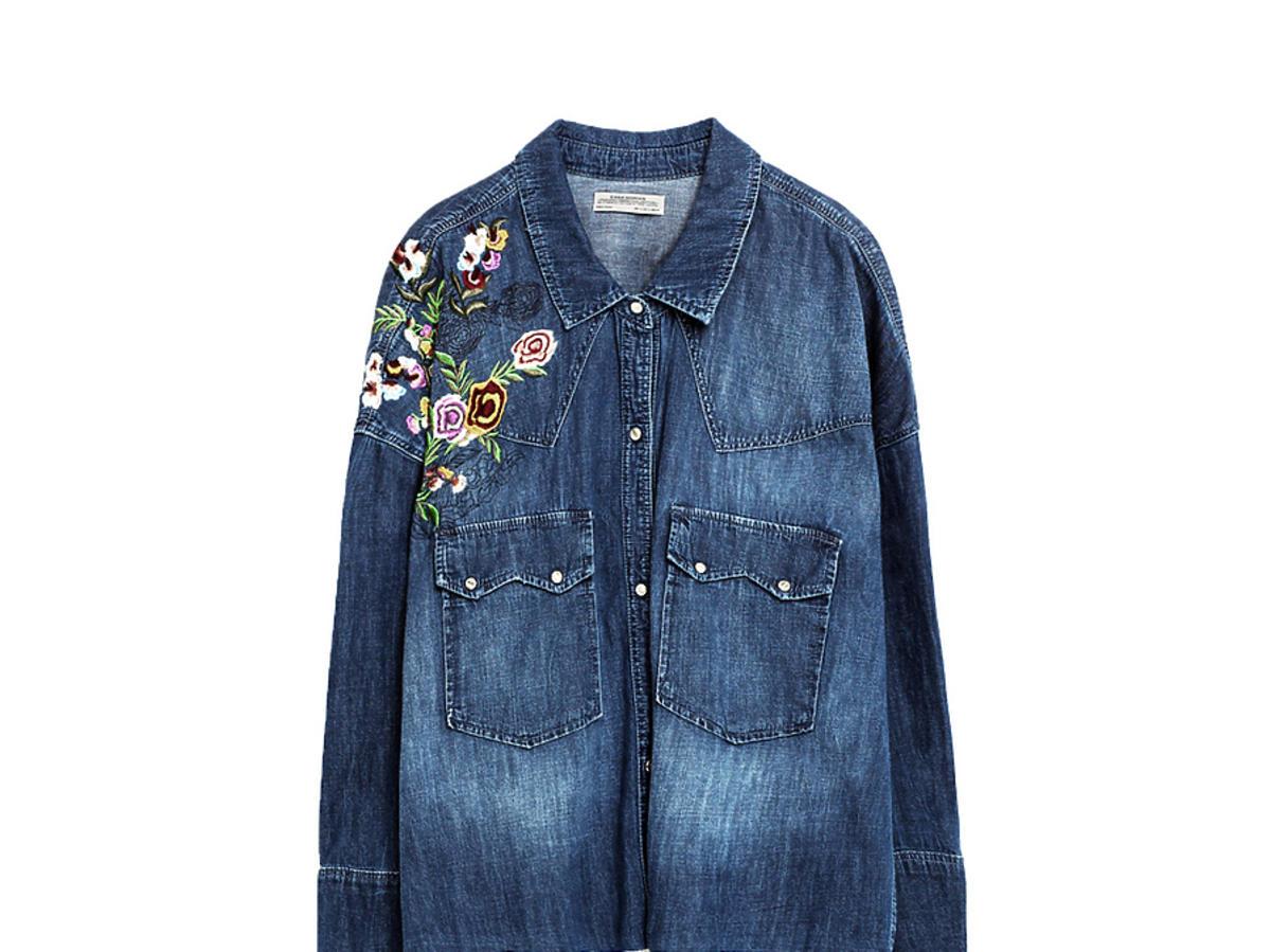 Anna Lewandowska dżinsowa kurtka z naszywkami hafty cena motyle Zara kwiaty H&M